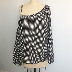 Roxy Checkered Pattern Asymmetric Shoulder Top